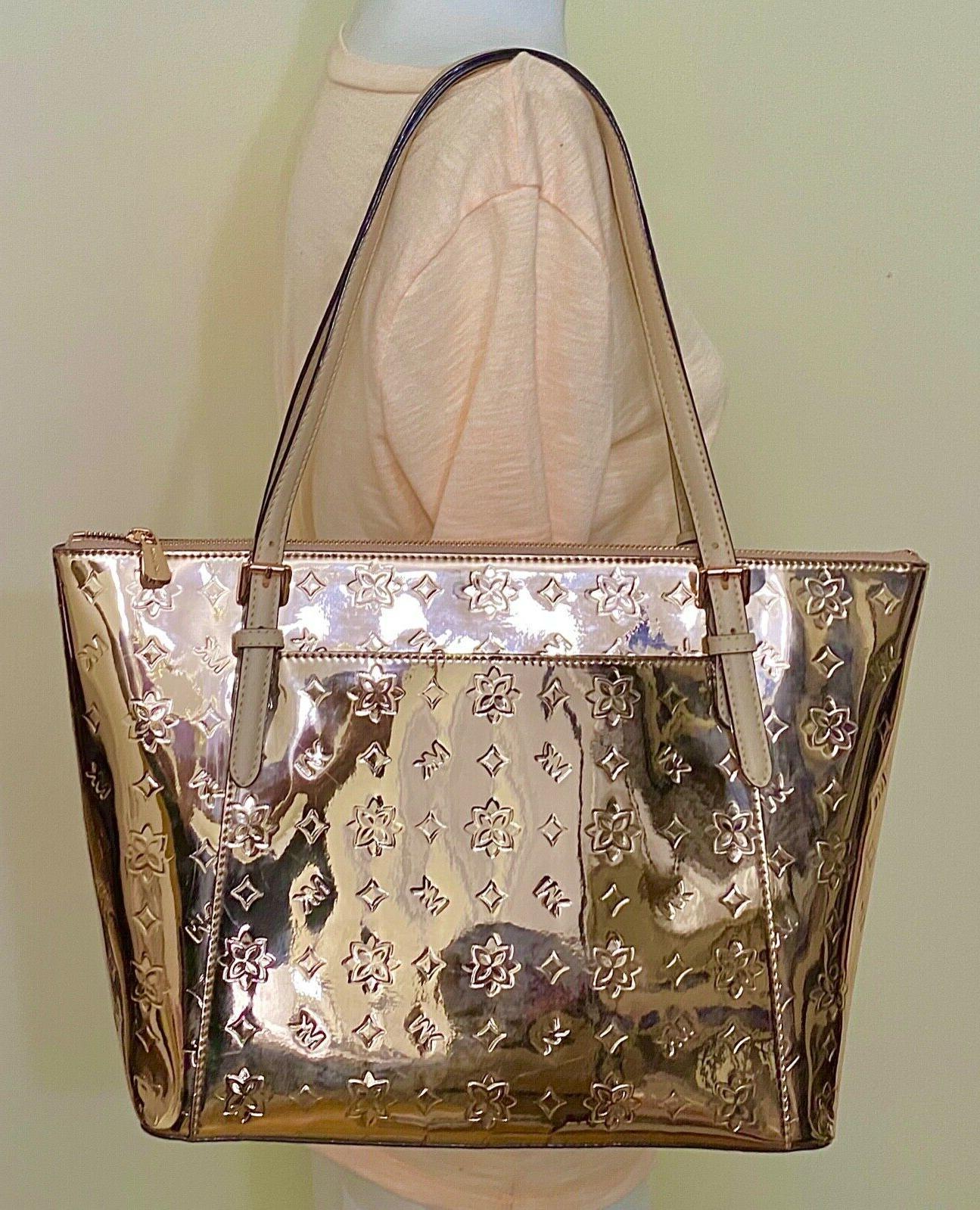 Zip Signature Mirror Leather Tote Bag