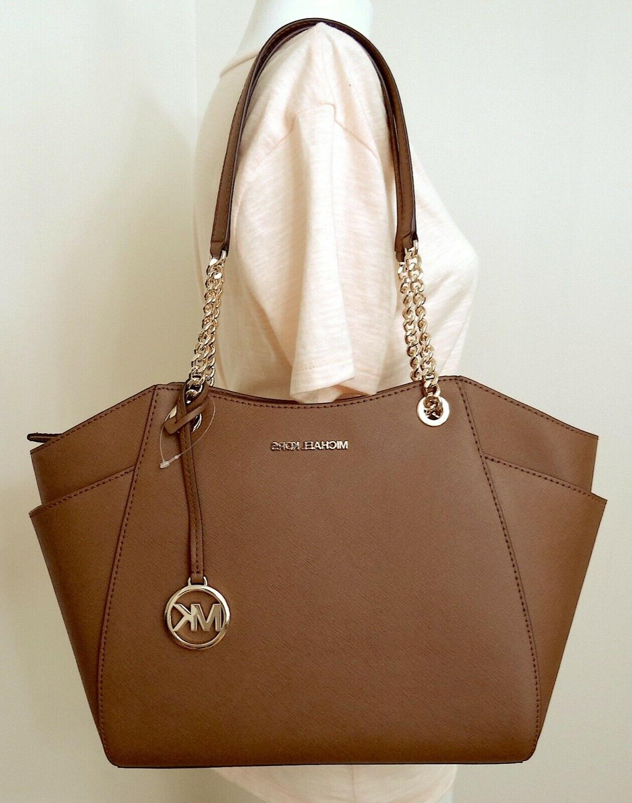 Michael Kors Chain Leather Large Shoulder Tote