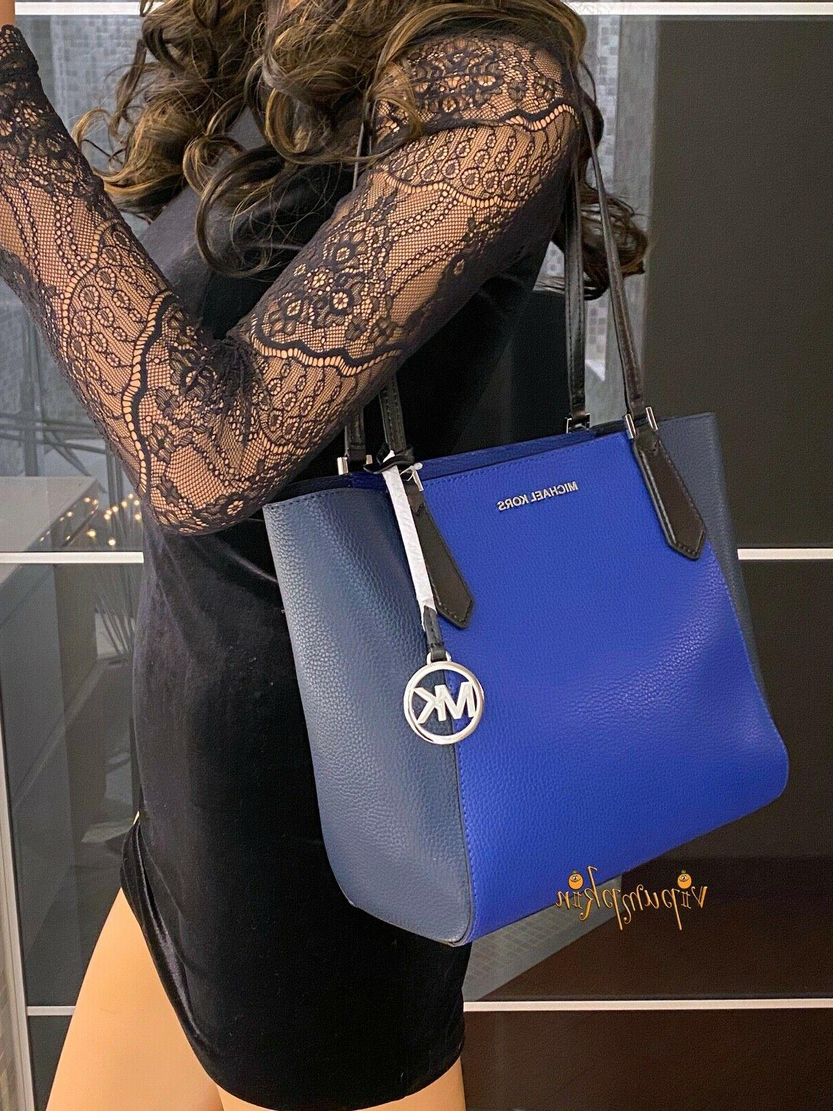 Michael Kors Kimberly Small Bonded Leather Tote Cobalt Multi