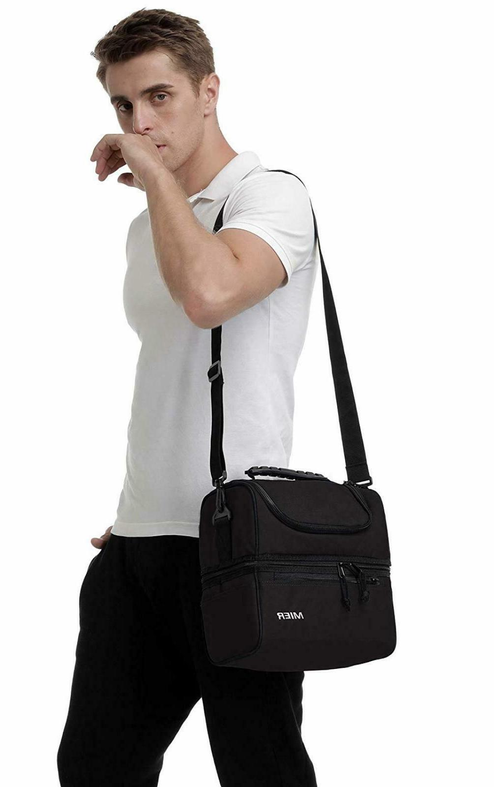 MIER Adult Lunch Box Insulated Lunch Cooler Tote for Men, Bl
