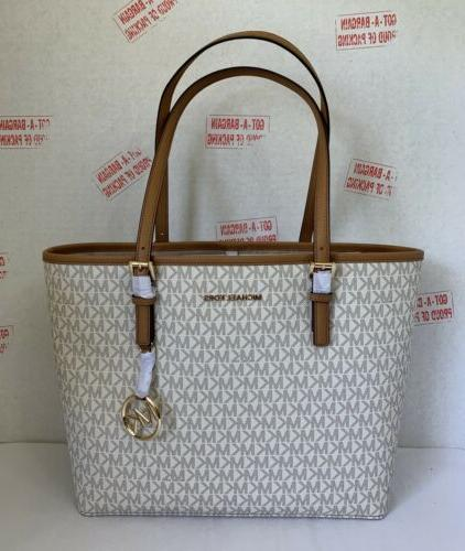 Michael MK Signature Jet Carryall Bag Vanilla