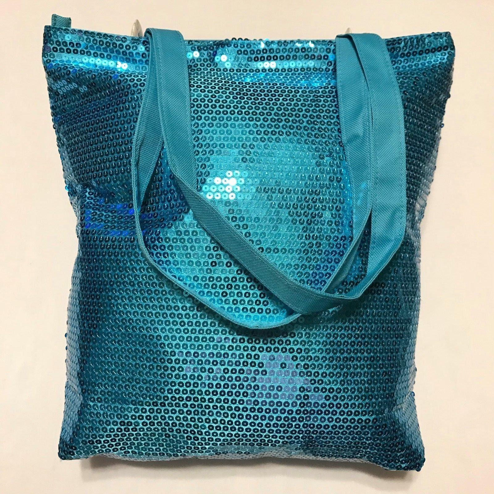 N'GIL® Turquoise Sequin Tote Bag, Lined, Double Handles, Li
