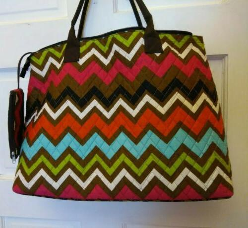 N.Gil  XXL Tote Bag Cotton Quilted Multicolored ZigZag Print