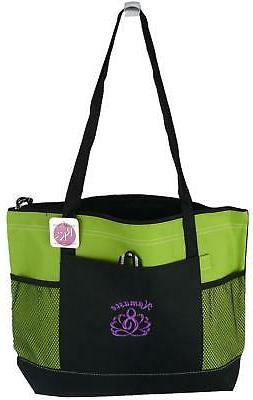 Namaste Tote Bag Lime Gemline Select Zippered Inner Peace Yo