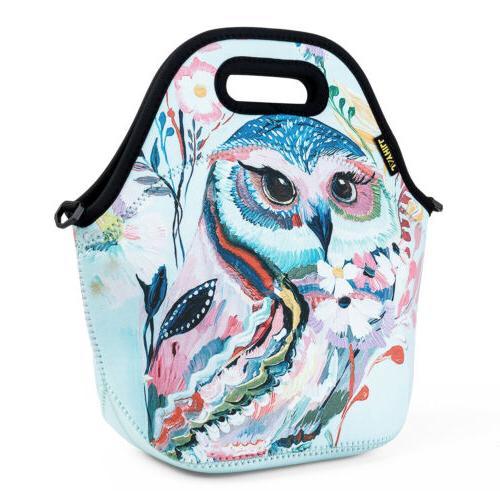 Neoprene Lunch Bags for Women Men Adults Kids Owl Large Insu