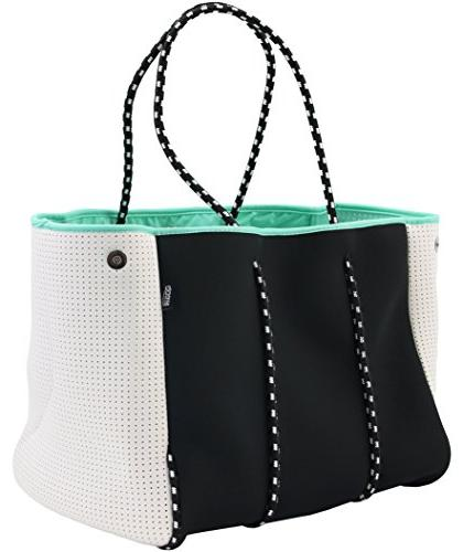 QOGiR Neoprene Multipurpose Beach Bag Tote with Inner Zipper