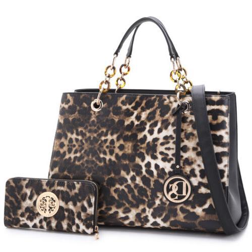 New Dasein 2pcs Women Handbags Faux Leather Satchel Tote Sho