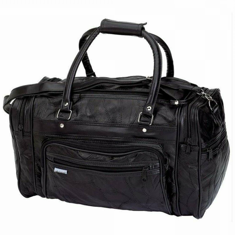 new black genuine leather tote bag gym