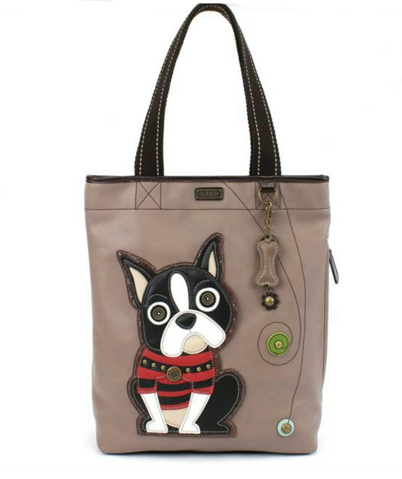 NEW CHALA GRAY BLACK BOSTON TERRIER DOG EVERYDAY ZIP TOTE PU