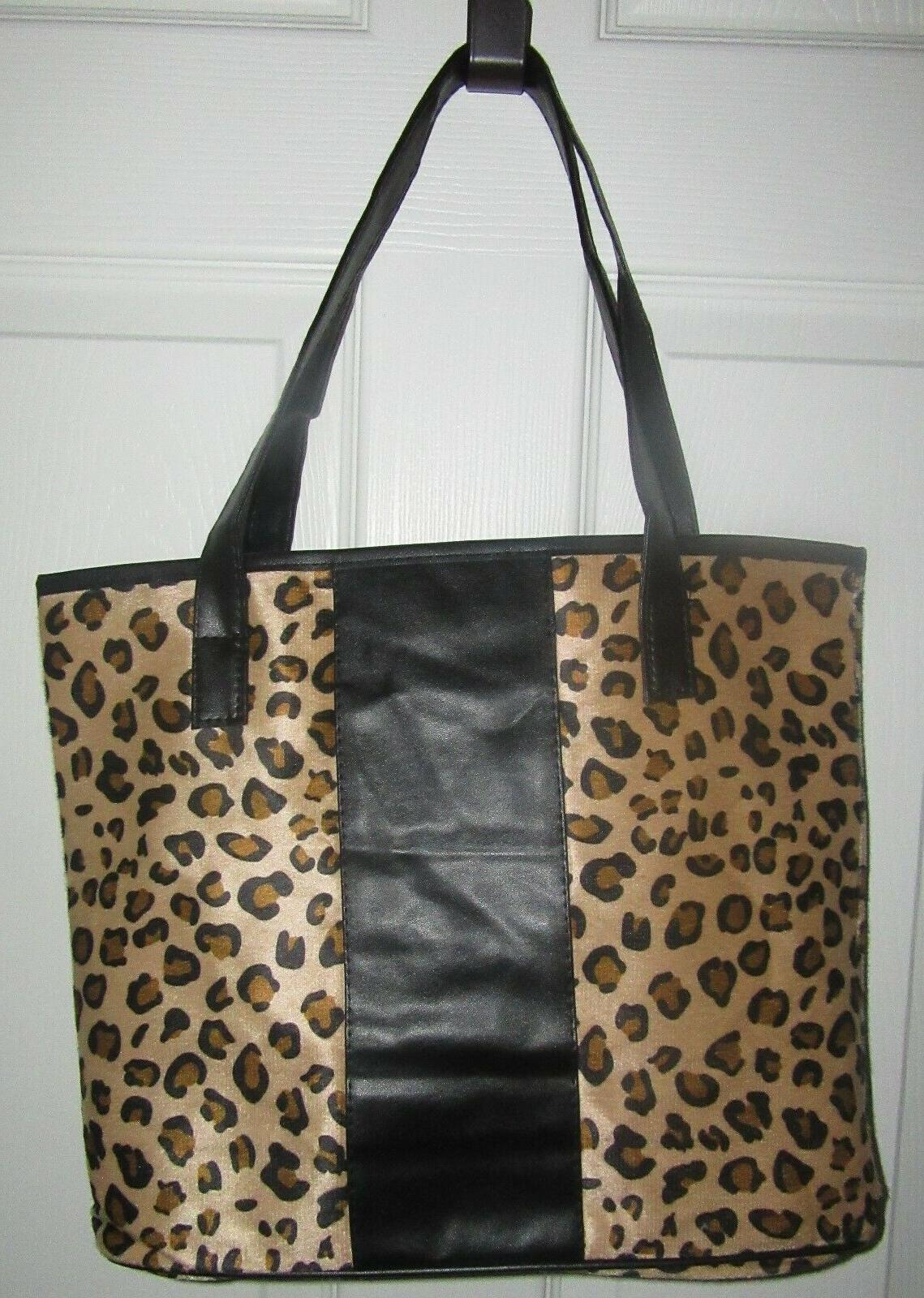 new leopard cheetah animal print lined tote