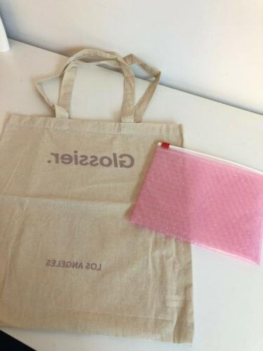 NEW Glossier Tote Bag Pink Zip