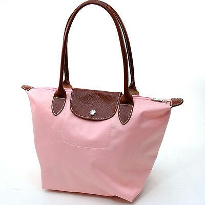 New Women Handbag Light Polyester Tote Bag with Faux Leather