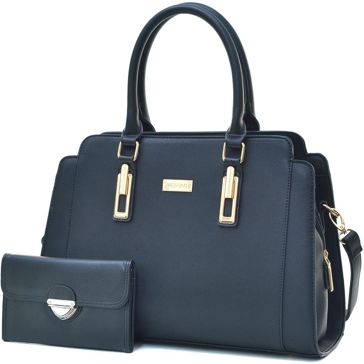 New Dasein Womens Handbags Faux Leather Satchel Tote Bag Lar