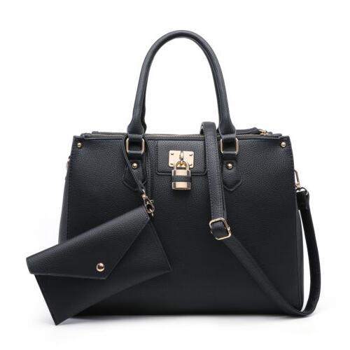 New Dasein Womens Handbags Leather Satchels Tote Bags Padloc