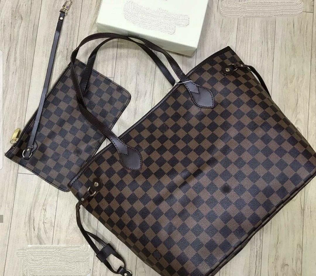 NEW! Womens Shoulder Bag Purse brown checkered Tote Fashion bag