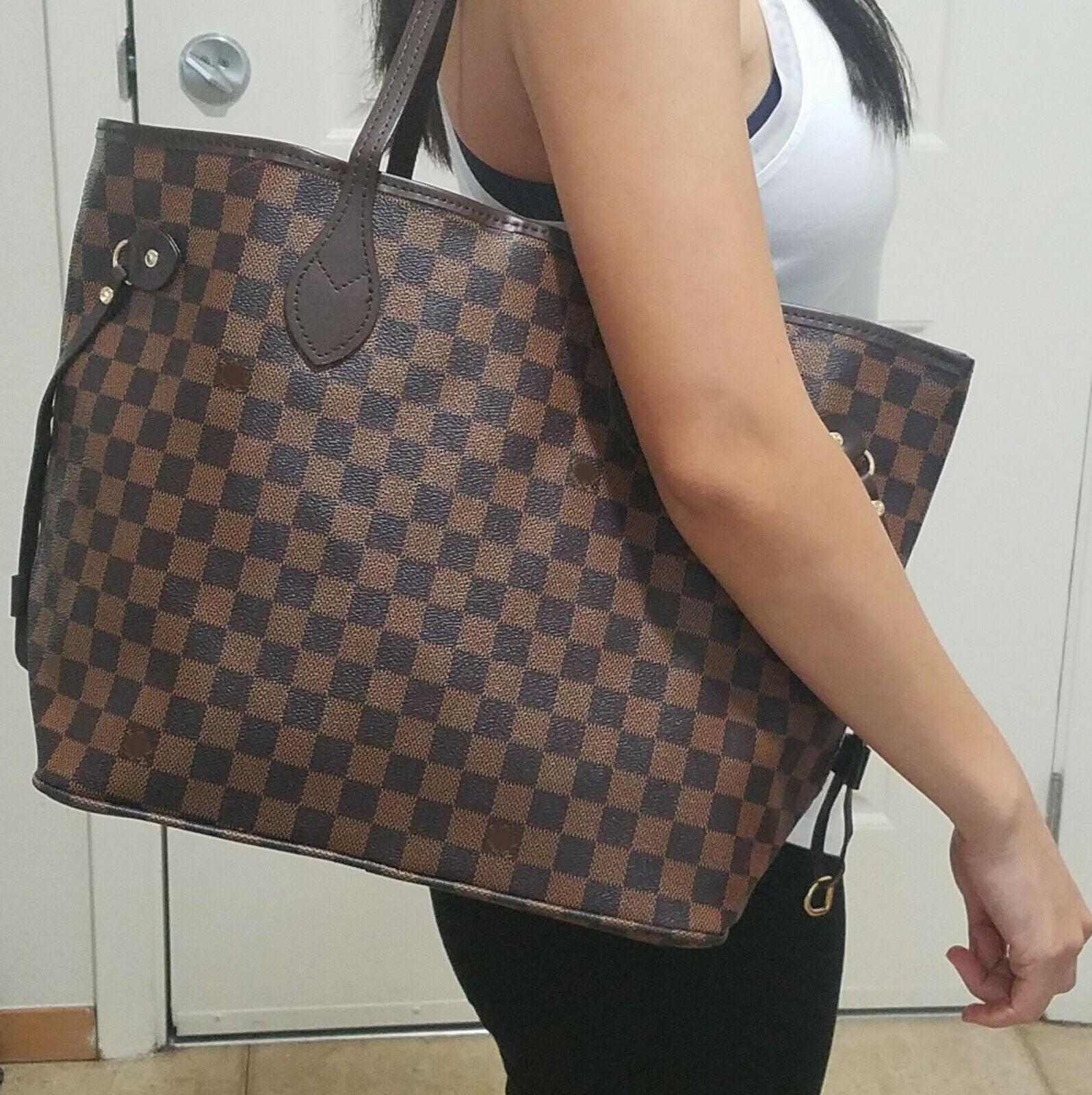 new womens shoulder bag purse brown checkered