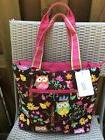 NGIL Owl/Butterfly - Quilted Diaper Bag- 3 Piece - Zipped -