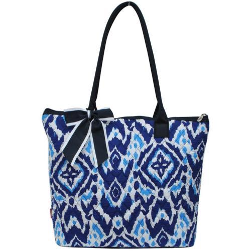 Ngil Quilted Cotton Medium Tote Bag 3 Blue Ikat Navy