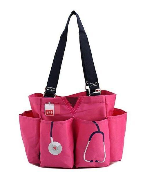Nurse Doctor NGIL Small Zip pink canvas purse Caddy Organize