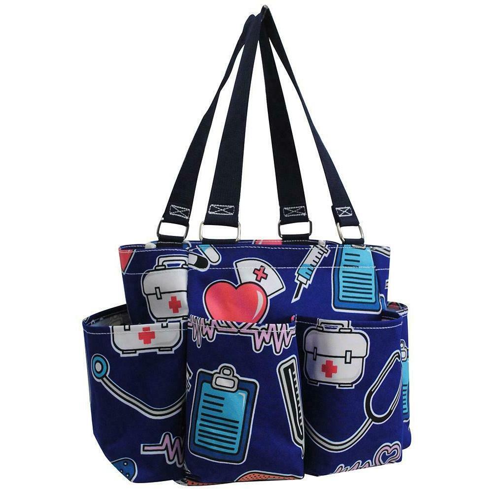 nurse navy doctor small zippered canvas purse