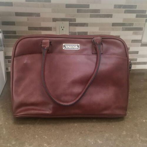 nwot laptop tote bag brown faux leather