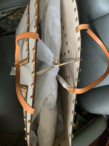 NWT Burch Block-T Studded XXL Canvas Tote Bag W/