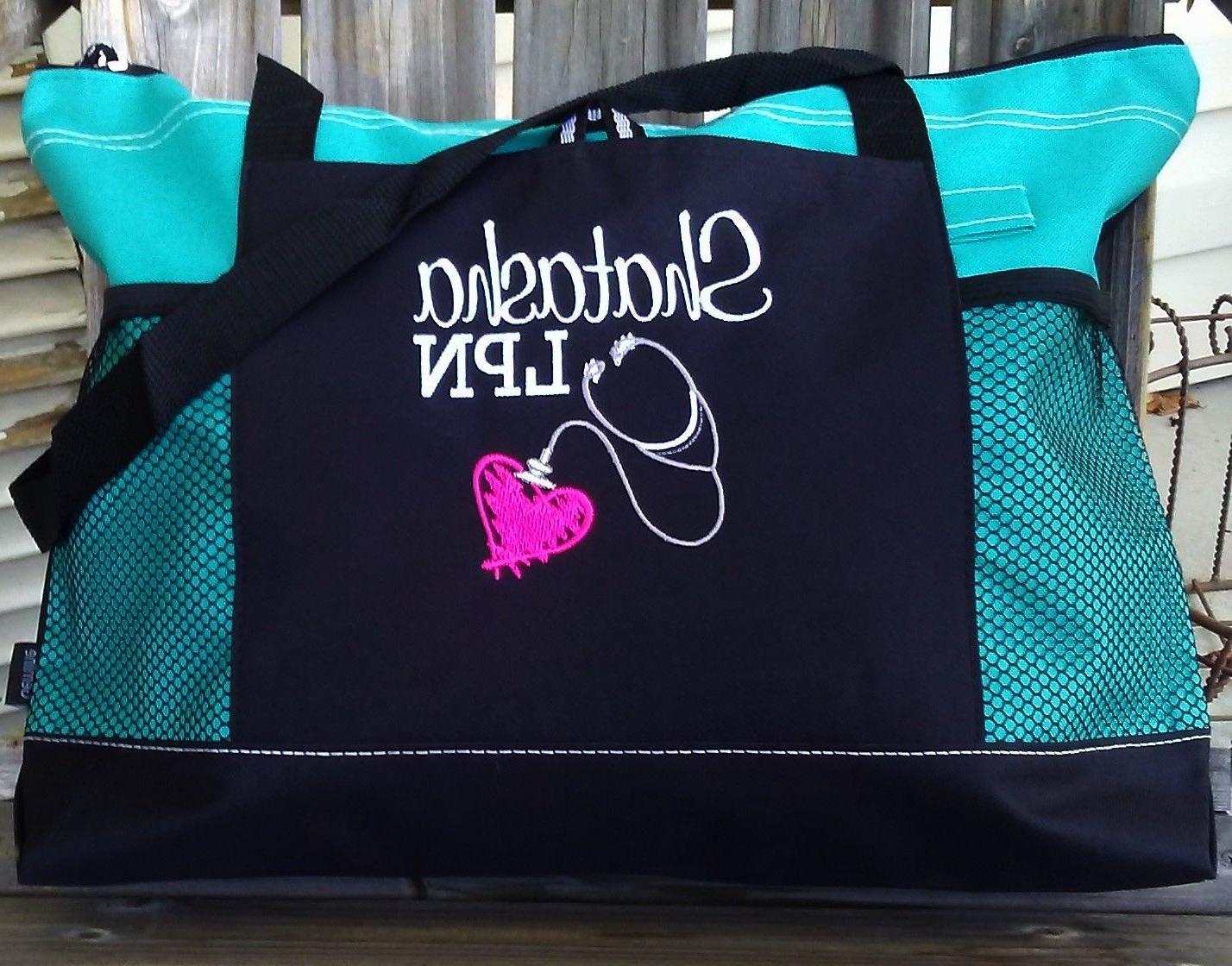 Personalized Nurse Reciation Gift Nursing Tote Bag Medical Rn Lpn Cna Zipper