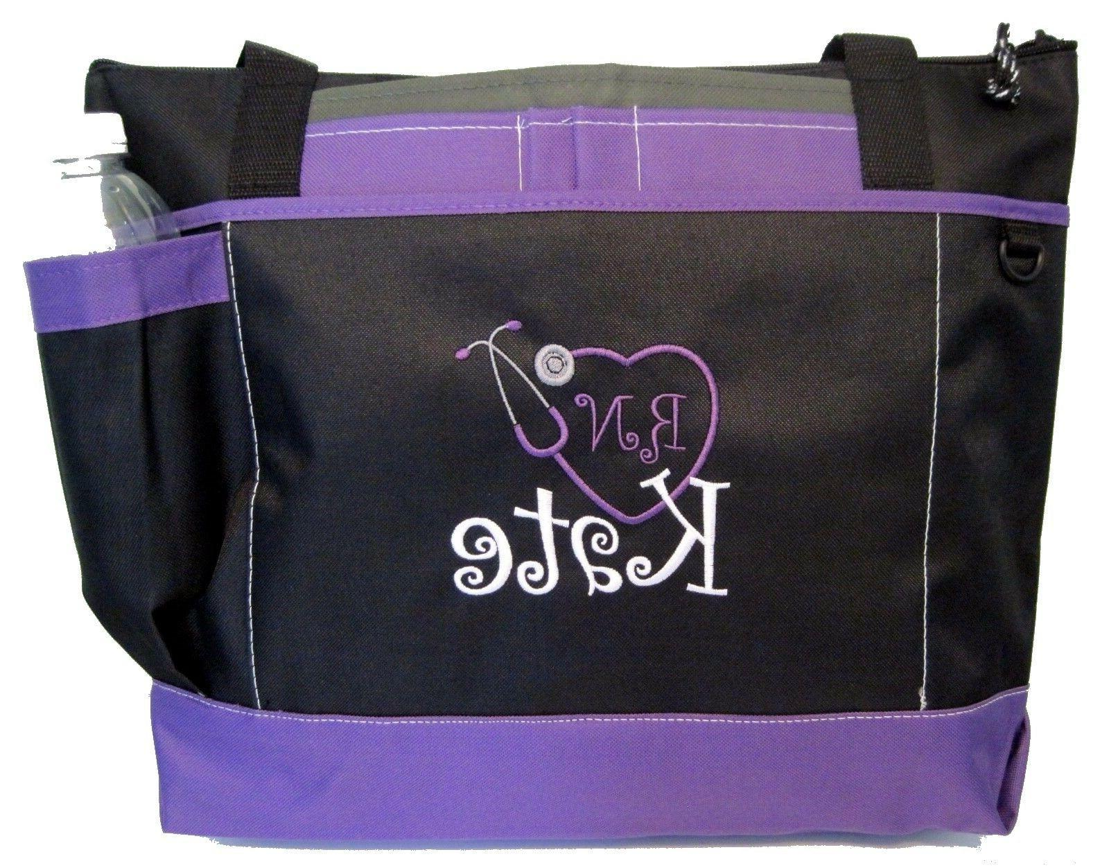 Personalized Tote bag book monogram purple NEW business NURS