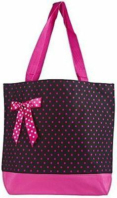 Ever Moda Polka Dot Tote Bag Black Pink