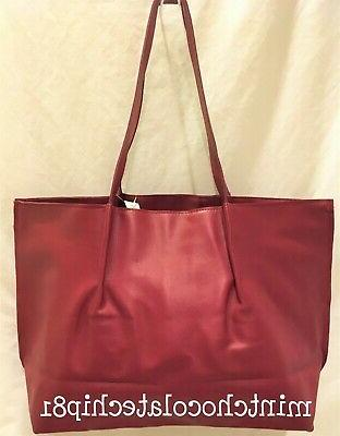SAKS FIFTH AVENUE Red Faux Leather Shopping Shopper Tote Han