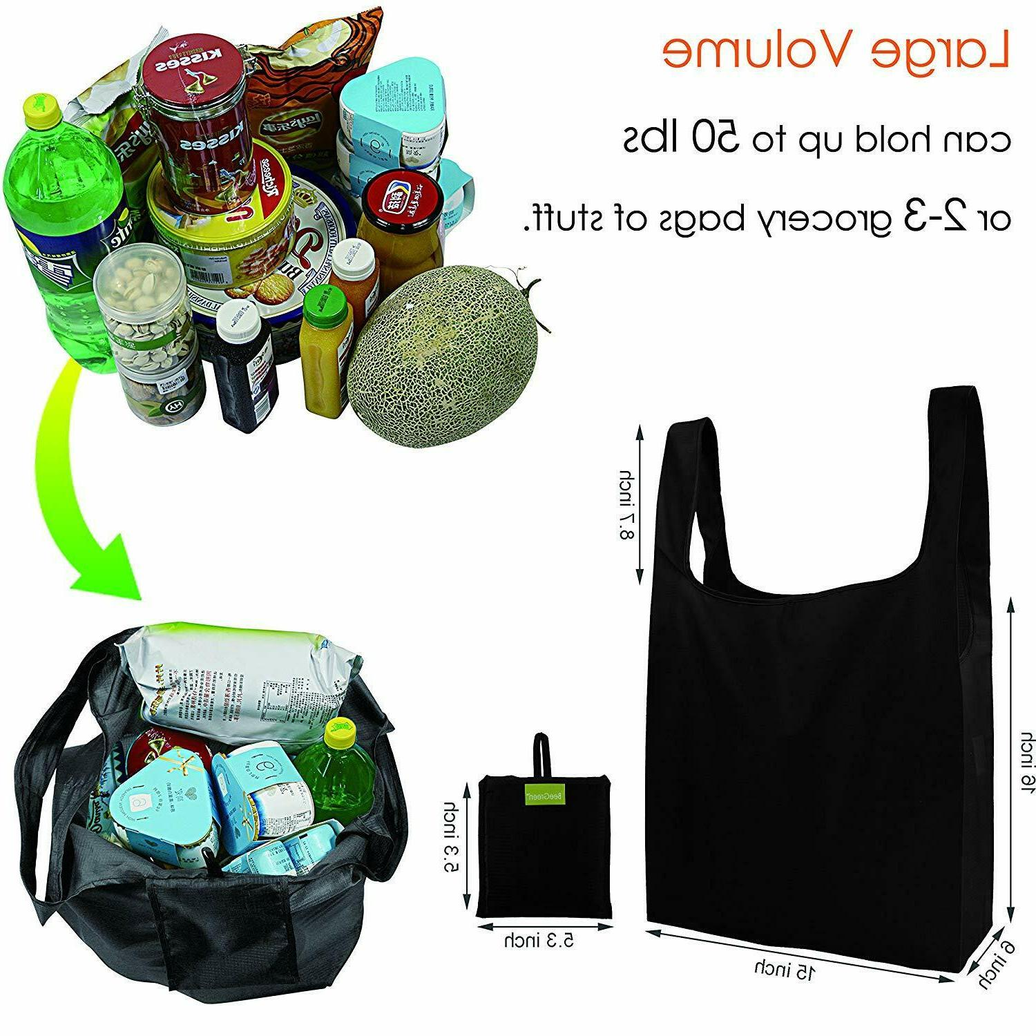 Reusable 5,Grocery Tote Foldable Attached Pouch, Shop