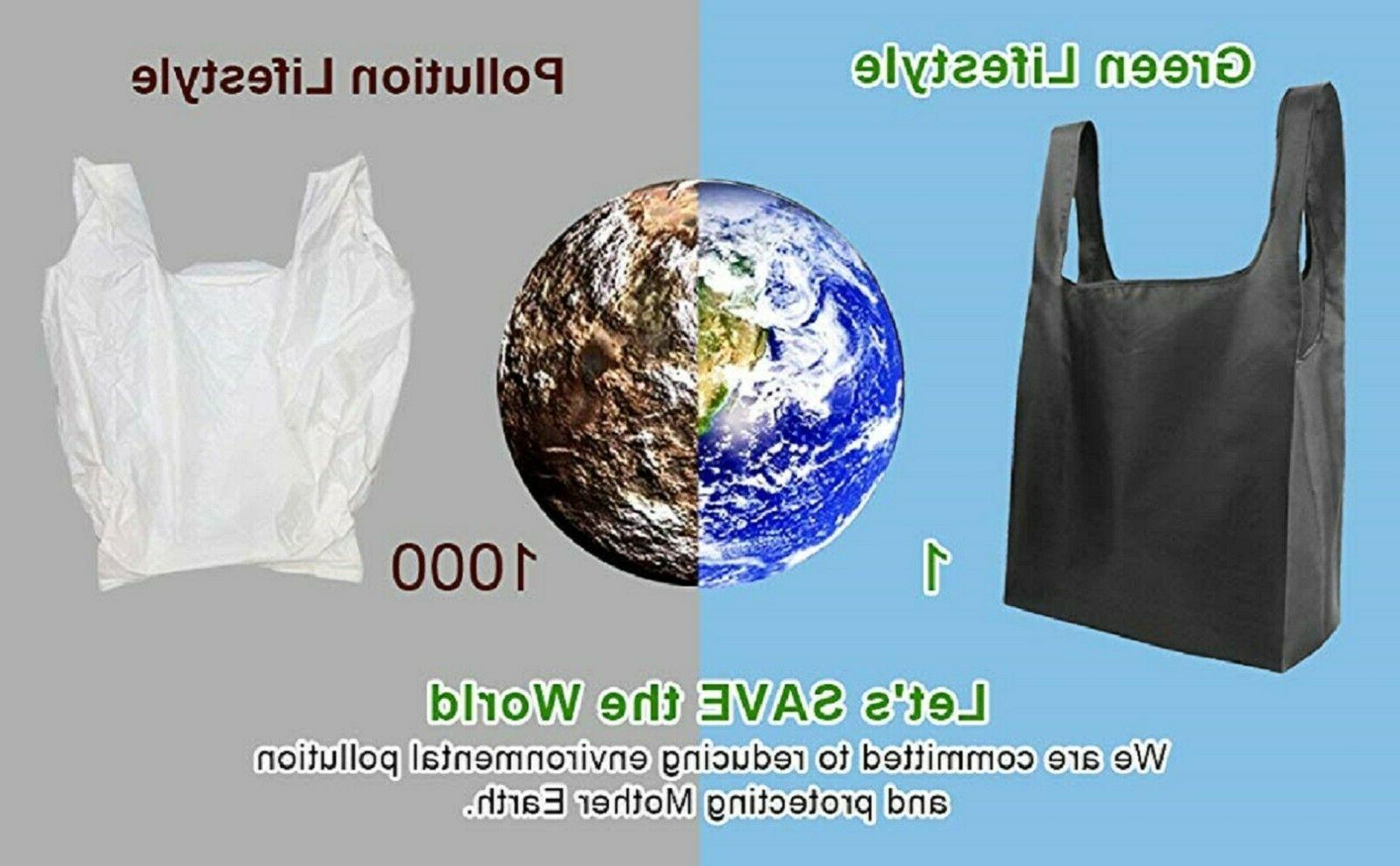 Reusable Bags Set 5,Grocery Foldable into Attached Pouch, Kitchen