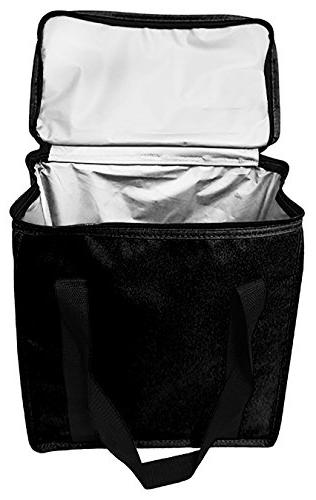 Earthwise Bags Duty Nylon Thermal Cooler Tote In all Black w/ZIPPER Closure FOOD OR COLD