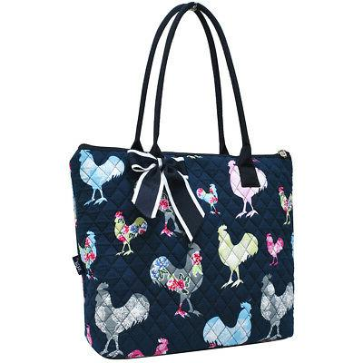 rooster quilted large ribbon tote bag