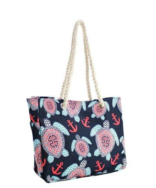 sea turtle anchor rope handle beach tote