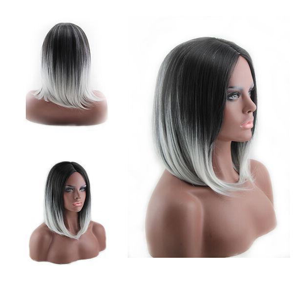 Women Short Heat Resistant Straight Full Black Hair