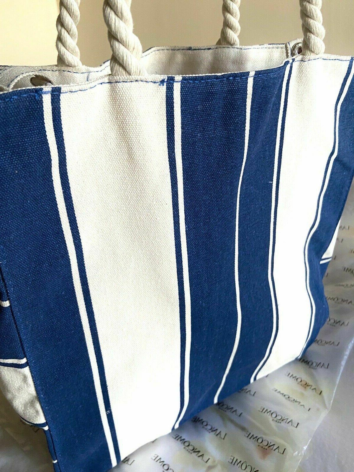 """Lancome Signature Canvas Bag BLUE & Strips 14 x """""""
