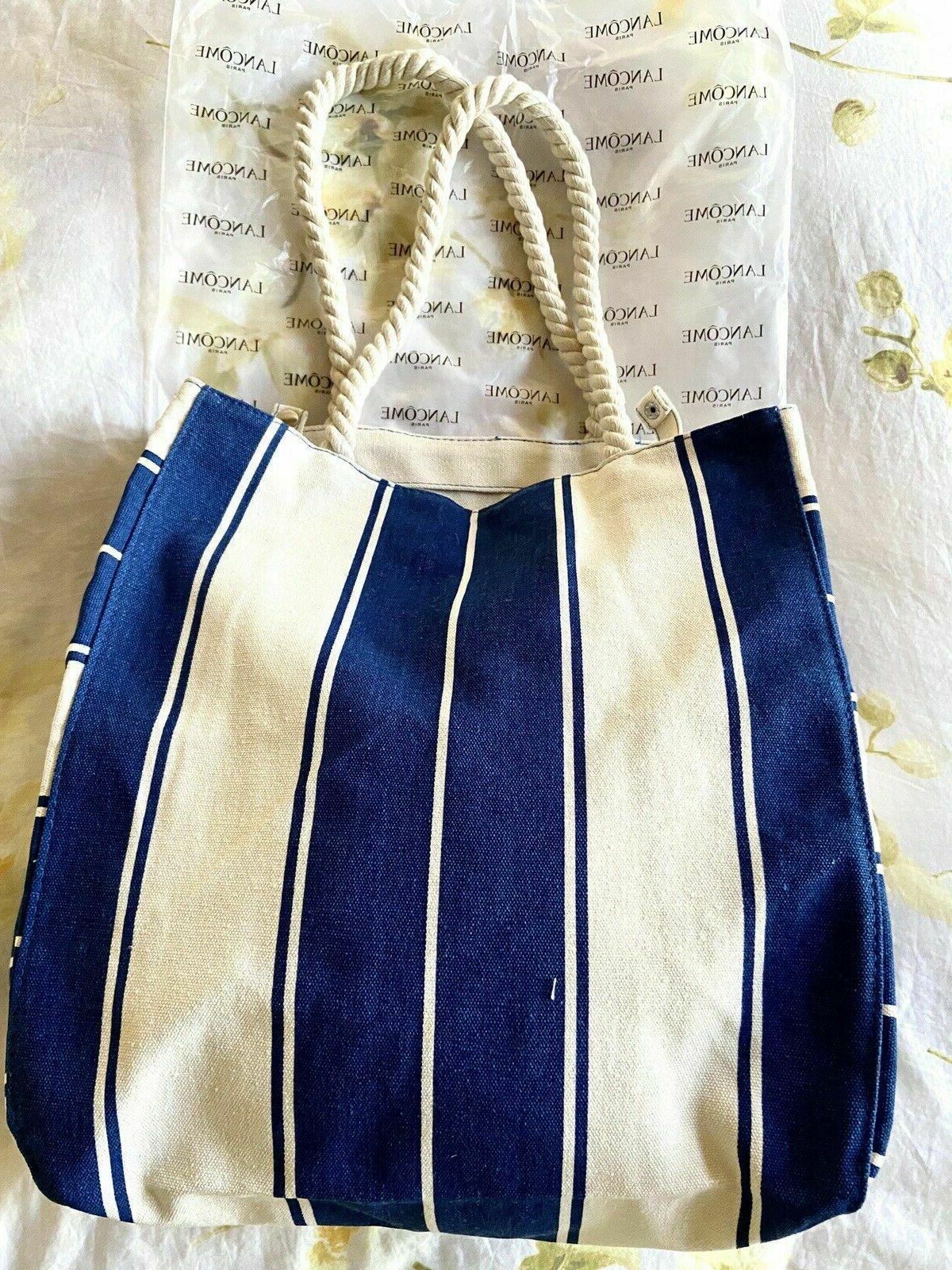 """Lancome Canvas Bag BLUE & WHITE Strips 13 x 5 """""""