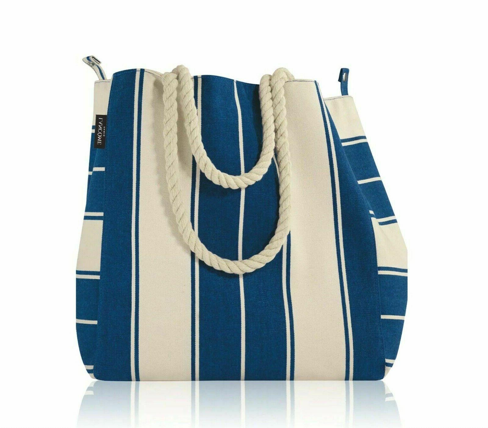 signature canvas tote bag blue and white