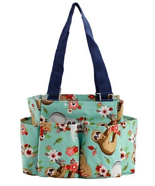 sloth small zippered canvas purse caddy organizer