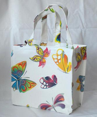 Small Cotton//vinyl lunch tote bags butterflies//geometric//cakes//wine//balloons
