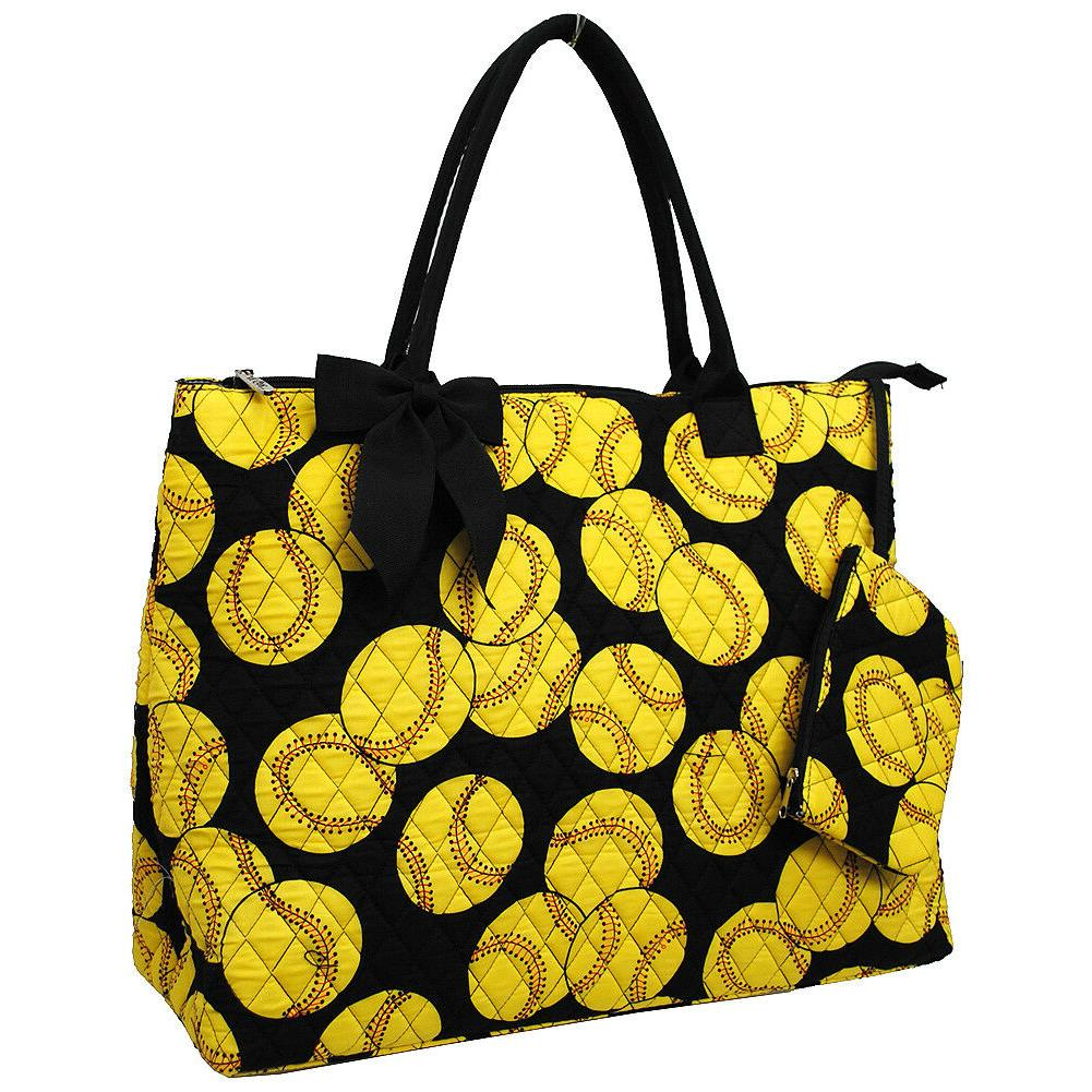 softball quilted overnight tote bag