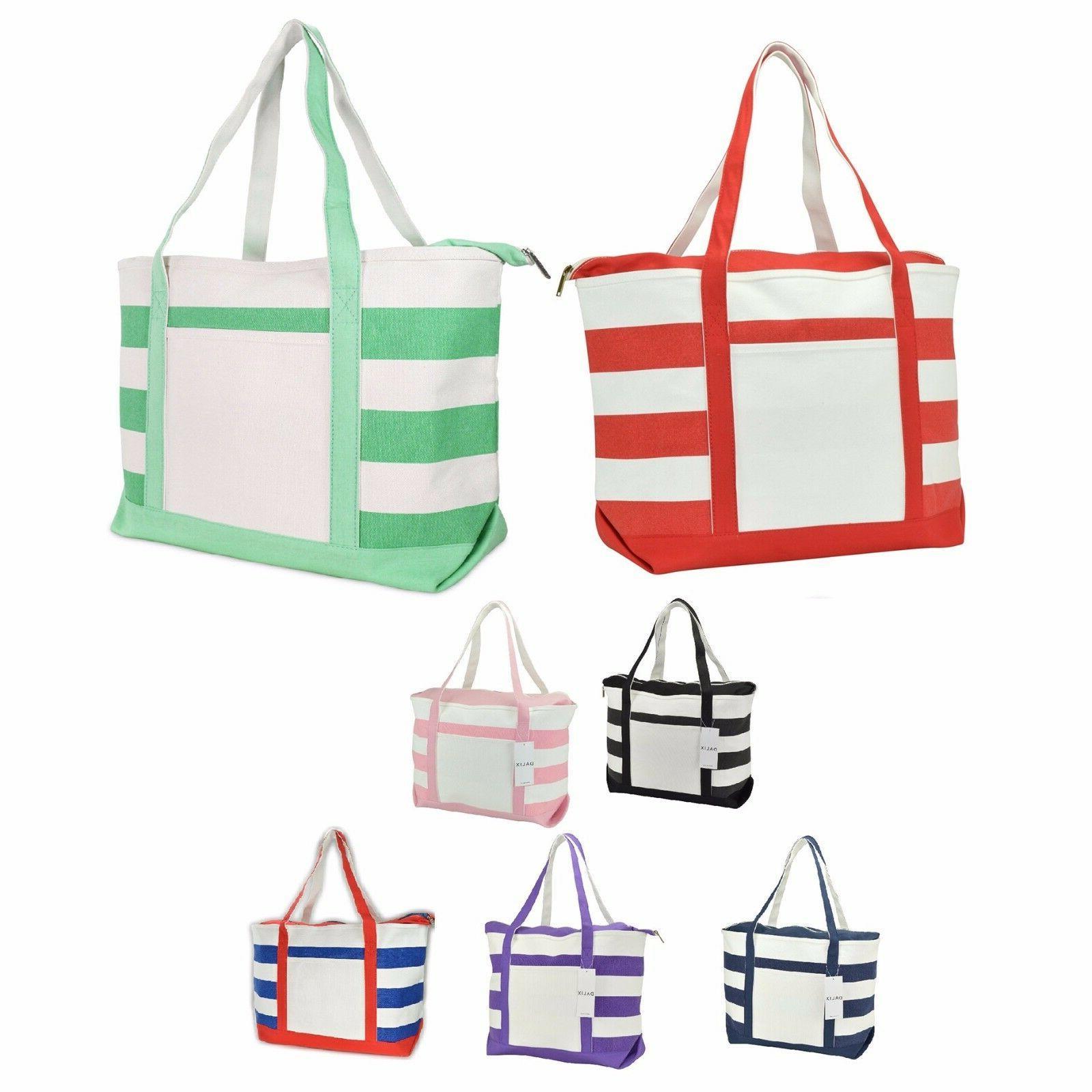 striped boat bag premium cotton canvas tote