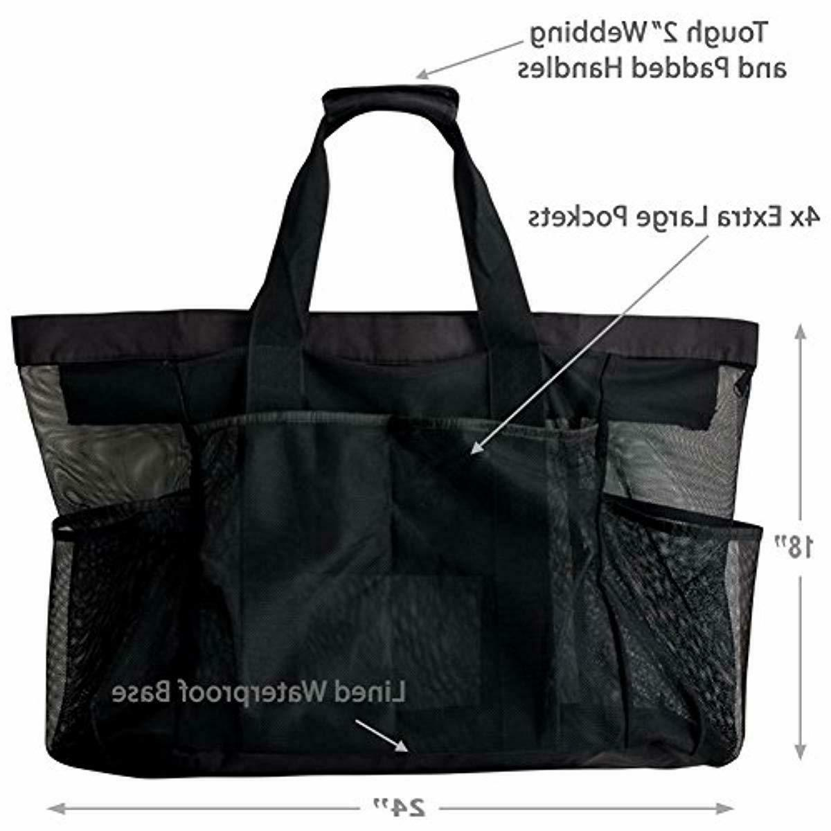 Extra XXL Mesh Tote Bag with Pockets Zipper