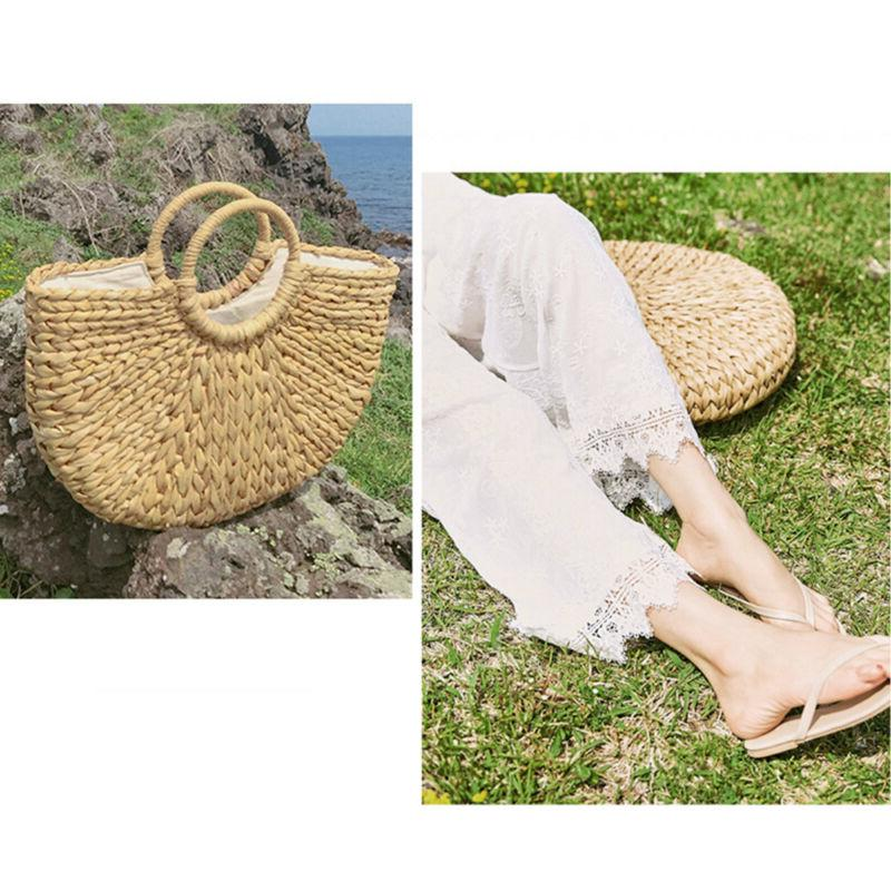Summer Retro Handbag Bags Beach Straw Rattan Basket Bag