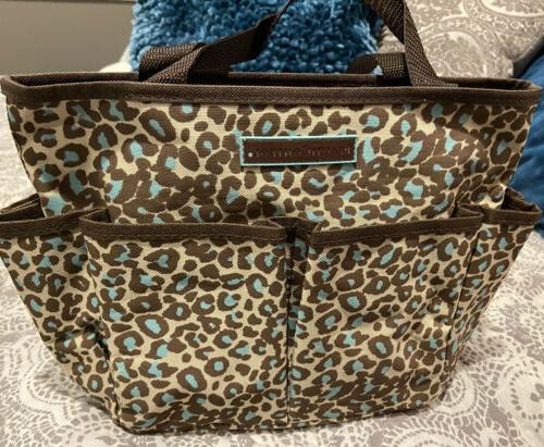 tote bag brown and teal leopard print