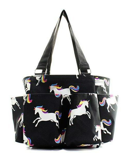 unicorn small zippered canvas purse caddy organizer