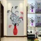 US 3D Art  Vase Flower Wall Mirror Stickers Decal Mural Graf