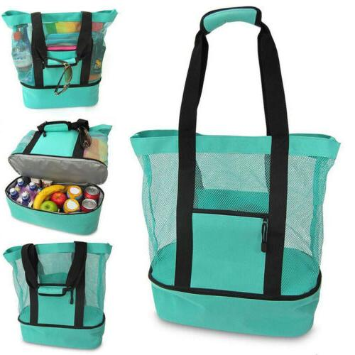 Mesh Beach Tote Bag Zipper Top Insulated Picnic Cooler Stora