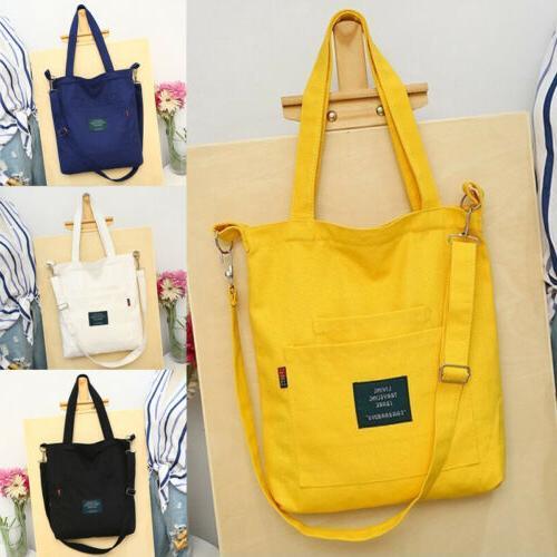 US Women's Canvas Black Handbag Shoulder Messenger Satchel